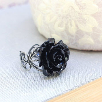 Black Rose Ring Resin Rose Flower Cocktail Ring Antique Silver Lace Filigree Adjustable Ring Bridal Jewelry Gothic Victorian Dark Romance
