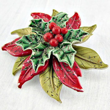 Vintage Celluloid Poinsettia Brooch Pin, Christmas Brooch, Gold Red Poinsettia Pin, 1960s Catholic Christian Miraculous Medal Jewelry