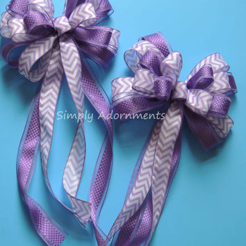 Purple Wedding Pew Bow Lavender Purple Chevron Check Wedding Aisle Bow Purple Bridal Shower Purple Birthday Party Decor Chevron gift bow