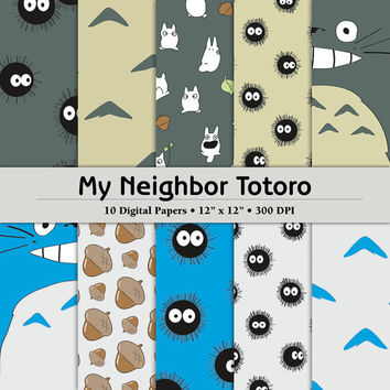 "Totoro Inspired 12""x12"" Digital Paper Pack of 10 