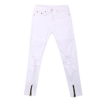 White Jeans Hole Trousers Men's Washed Ripped Destroyed Jeans Straight Vintage Frayed Denim Zipper Pants
