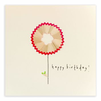 Pink Flower Birthday Pencil Shavings Card