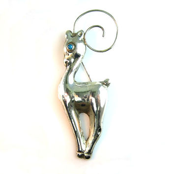 Mexican Silver Brooch. Deer, Gazelle. Vintage 1940s Art Deco Sterling Silver with a Turquoise Eye. Statement Animal Jewelry