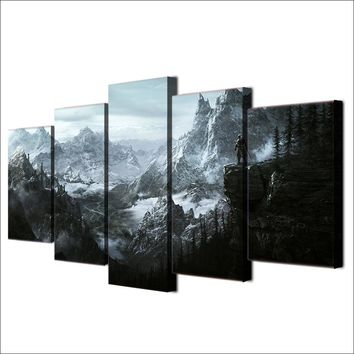Fast US Ship - Elder Scrolls V Skyrim 5 panel wall art  on canvas