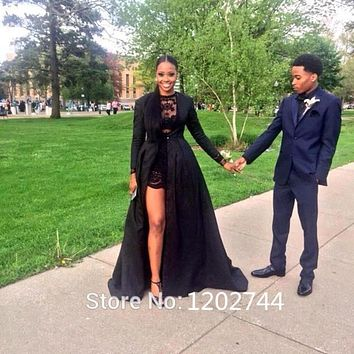 2017 Sexy Two Piece See Through Black Lace Short Prom Dresses Long Sleeve Detachable Coat Floor Length prom dresses