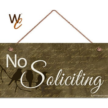 "No Soliciting Sign, Birds On A Branch, Weatherproof, 5"" x 10"" Sign, Rustic Decor, Housewarming Gift, Front Door Sign, Made To Order"