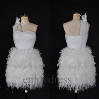 Custom White Ostrich Feather Short Prom Dresses Fashion Evening Gowns Cocktail Dresses Fashion Party Dress Bridesmaid Dresses 2014 New Dress