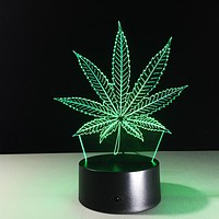 Weed Leaf Night Lamp - Remote Control - Bluetooth Speaker