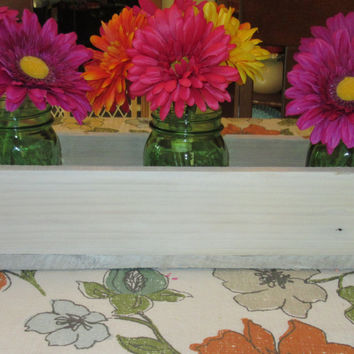 Antique White Wash Wood Planter Box • Mason Jar Centerpiece, Long wood box, Candle Holder, Wedding Centerpiece • 21 inches long