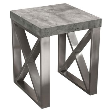 Carrera End Table in Faux Concrete Finish with Brushed Stainless Steel Legs