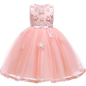 Girls Party Ceremony Dresses For Girl Cotton Linging Tulle Lace Infant Toddler Pageant Flower Dress Wedding Birthday Clothes