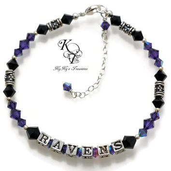 Baltimore Ravens, Ravens Bracelet, Ravens Jewelry, Football Jewelry, Sport Team Jewelry, Ravens Gift, Unique Gift, Christmas Gift