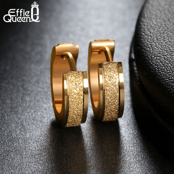Fashion 18K Gold Plated Hoop Earrings Punk Rock Stainless Steel Earrings For Women Men Drop Ship Jewelry IE02