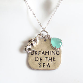 Dreaming of the sea, mermaid, beach, ocean, summer, jewelry, necklace, ocean, necklace, gift, simple, modern, cute, mermaid, gift, necklace