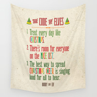 Buddy the Elf! The Code of Elves Wall Tapestry by Noonday Design   Society6
