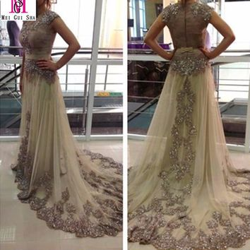 Hot Selling 2016 MGS A-Line Scoop Tulle Sheer Evening Dresses Dubai Arabic Kaftan Appliqued Lace Beading Shinny Prom Gowns