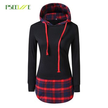 PSEEWE Women Casual Hoodies Sweatshirts Mujer plaid Long Sleeve Pullovers Sweatshirt Splicing  Hooded Hoody Female Loose Coat