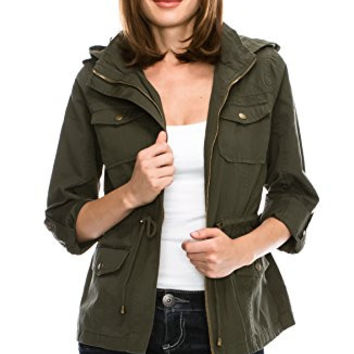 Califul Anorak Lightweight Utility Army Military Jacket Parka Drawstring (Large, AR02 Olive)