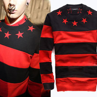 2013 Men's Red & Black Stripe Embroidery Star Pullover Long Sleeve Jumpsuit Top