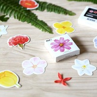 Korean Stationery Cute Floral Flower Paper Sticker  Decorative Sealing Stickers Planner Diary Notebook DIY Stationery Stickers