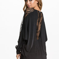 Black Lace And Mesh Long Sleeve Chiffon Top