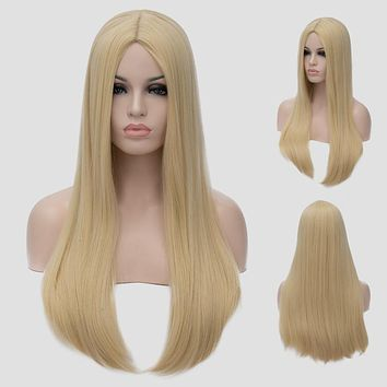 Rockstar Wigs 5Colors 60cm/24inches Long Straight Black Blond Synthetic Hair Central Parting Cosplay Wig