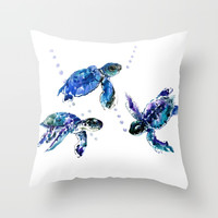 Three Sea Turtles Throw Pillow by sureart