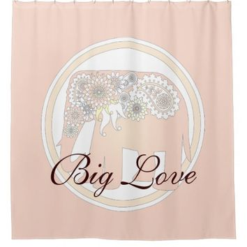 Pastel Rose Pink Paisley Elephant Cute Elegant Shower Curtain