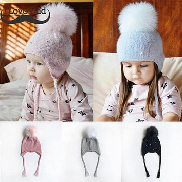 2018 Cute Kids Hat Baby Girl Hat Beanie Winter Warm Knit Hats Cap Children Girls Pompom Caps Bonnet Beanies Newborn Baby Muts