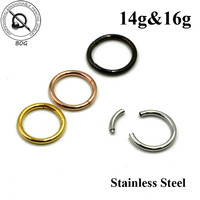 Lot 5 Pieces Stainless Steel Segment Ring 16g 14g Nose Lip Nipple Septum Cartilage Nipple Tragus Piercing Jewelry 14g 16g