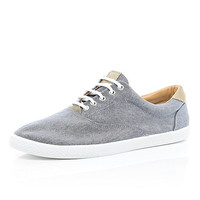 River Island MensNavy chambray lace up plimsolls