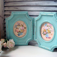 Blue Painted Vintage Frames, Set of HOMCO Light Blue Frames, Nursery Decor, Cottage Chic Frames with Floral Bouquet, Double Frame, Up Cycled