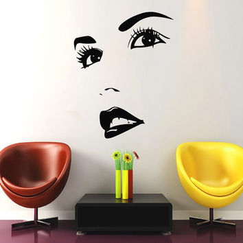 Makeup Wall Decal Vinyl Sticker Decals Home Decor Mural Make Up Girl Eyes Woman Fashion Cosmetic Hairdressing Hair Beauty Salon Decor SV6045