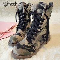 Women's Camouflage Motorcycle Military Canvas Ankle Boots Lace Up Western Riding Boot Big Size Shoes Women 2016 Autumn Winter