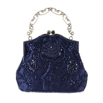 Evening Handbag Bags Women Wedding Bridal Totes Hand bag Beaded Rose Solid Fashion Party Bling Chain Shoulder Bags
