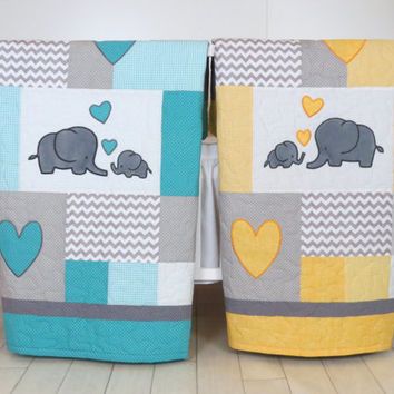 Best Elephant Baby Quilt Products on Wanelo : yellow and gray baby quilt - Adamdwight.com