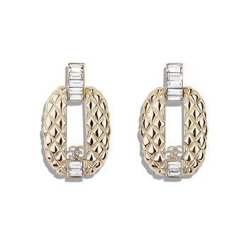 Earrings, metal & strass, gold & transparent - CHANEL