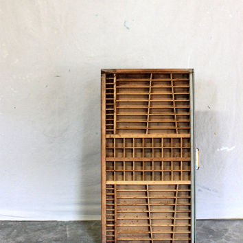 large antique letterpress typesetters tray // wood type case // industrial urban organization // printers tray // primitive art