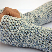 Fingerless gloves, long arm warmers, crochet arm warmes in white with blue specks