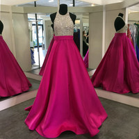 High Neck Sparkling Pink Prom Dresses