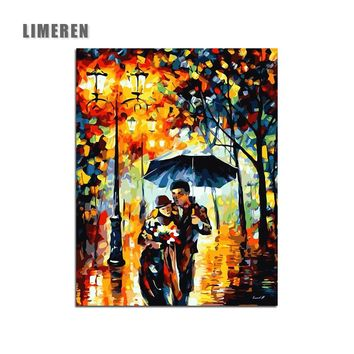 Lovers in the rain DIY Digital Painting By Numbers Modern Wall Art Canvas Painting Unique Gift For Art Wall Home Decor