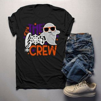 Men's Funny Halloween T Shirt Boo Crew Graphic Tee Matching Halloween Shirts Ghost