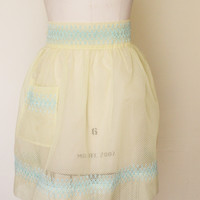 Vintage Yellow Swiss Dot Organza Apron