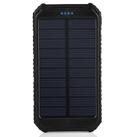 Solar Charger Battery Matone Portable 10000mAh Solar Battery Charger Rain-Resistant Shockproof, Dual USB output Solar Powered Phone Charger for iPhone, iPod, iPad, Samsung, HTC, GPS & Gopro Camera (Green)