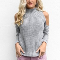 Give Me Chills Gray Cold Shoulder Knit Sweater