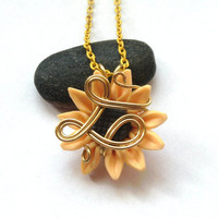 Sunflower Pendant, Wire Wrapped Yellow Polymer Clay Sunflower Necklace, Wire Wrapped Jewellery, Fimo Flower Jewelry, Handmade Wire Necklace