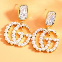 "Hot Sale ""GUCCI"" S925 Silver Needle Stylish Chic Diamond Pearl Double G Letter Pendant Earring Accessories Jewelry"