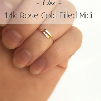 Rose Gold Midi Ring - Hammered Midi Ring - 14k Rose Gold Filled Midi - Rose Gold Knuckle Ring - Gold Fingertip Ring - Adjustable