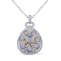 Opalite, White Austrian Crystal Art Deco Pendant in Silvertone With 20 inch Stainless Steel Chain