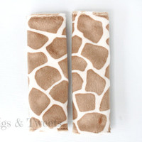 Reversible Car Seat Strap Covers- GIRAFFE print on Mocca Minky